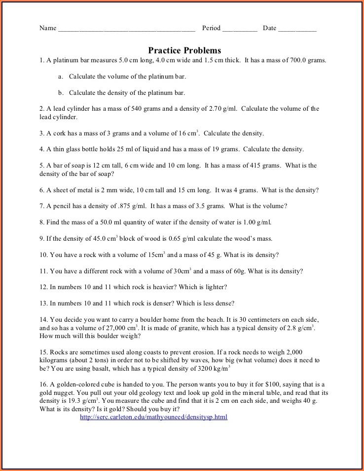 Density Worksheet Use Pencil