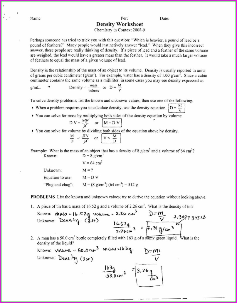 Density Worksheet With Answer Key