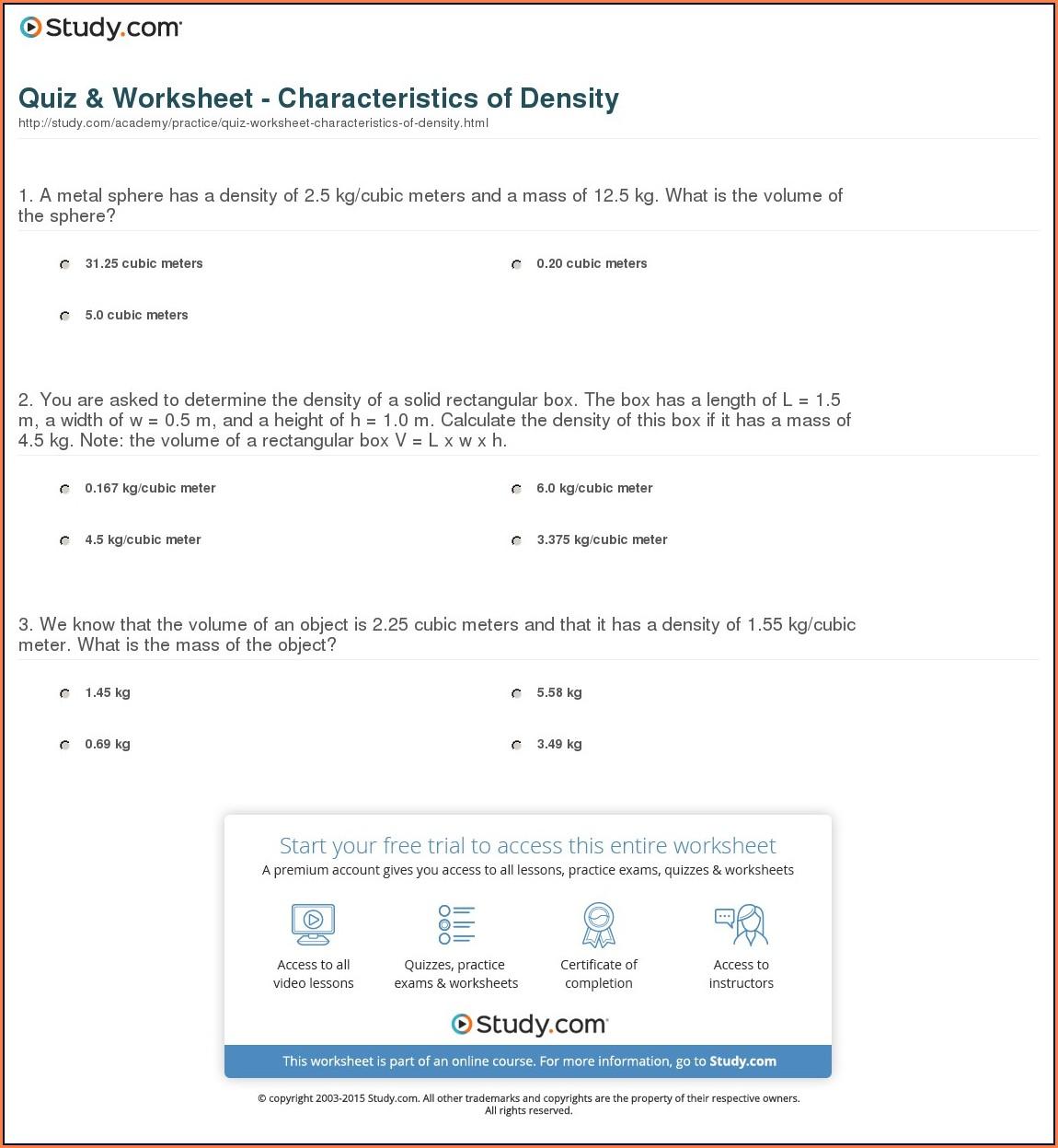 Density Worksheets For Grade 9