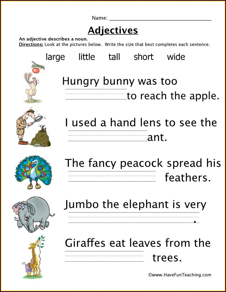 Describing Words Worksheet 1st Grade