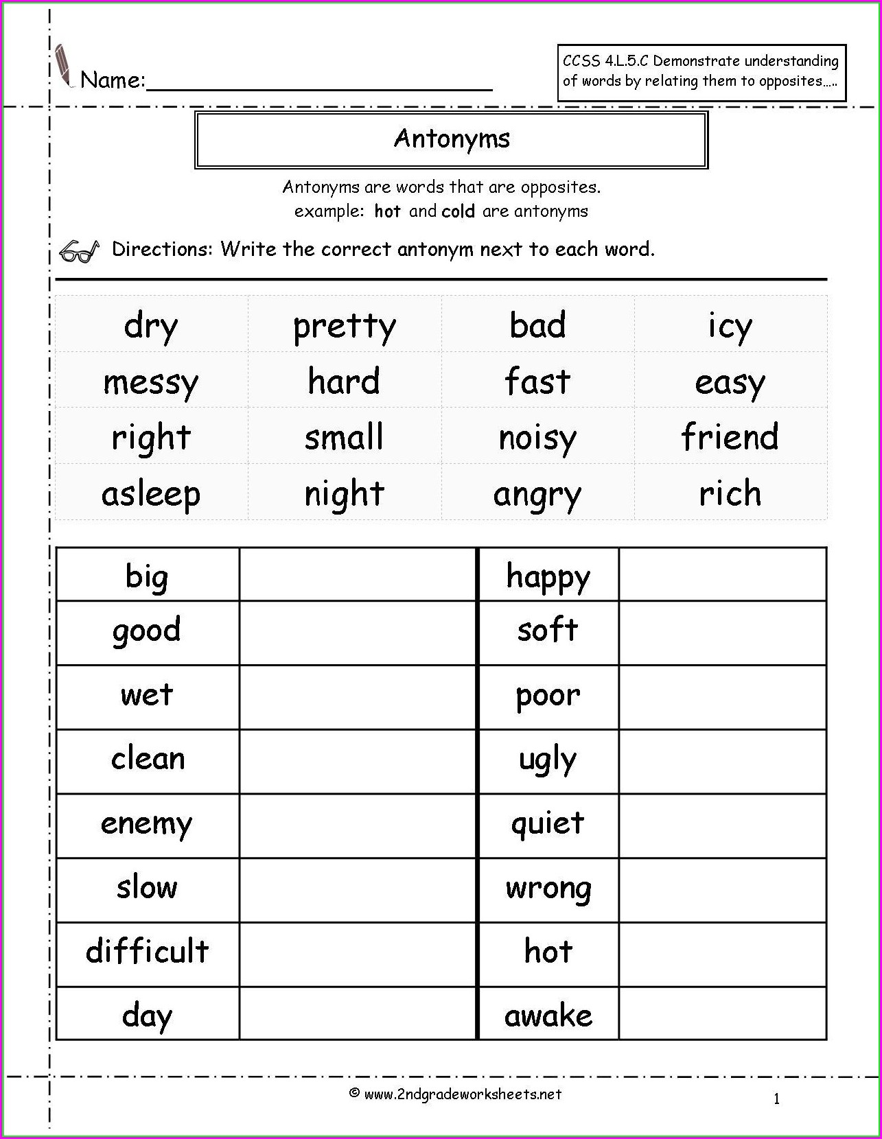 Descriptive Words Worksheet Middle School