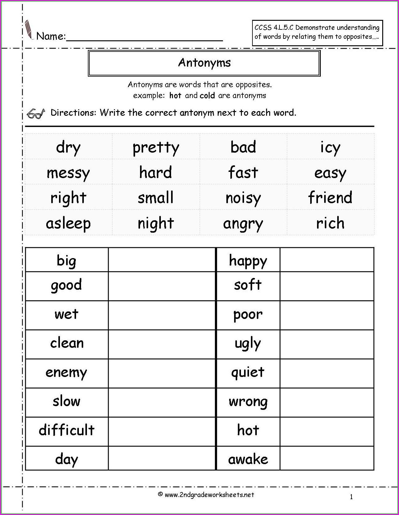 Descriptive Words Worksheet Middle School