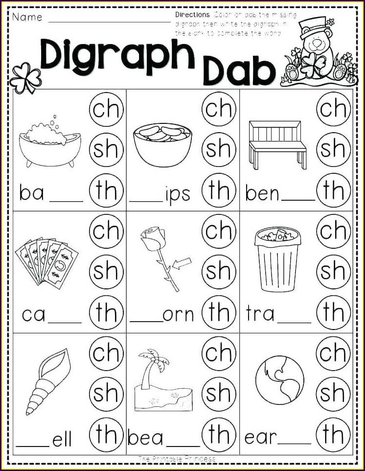 Digraph Sh Worksheets First Grade