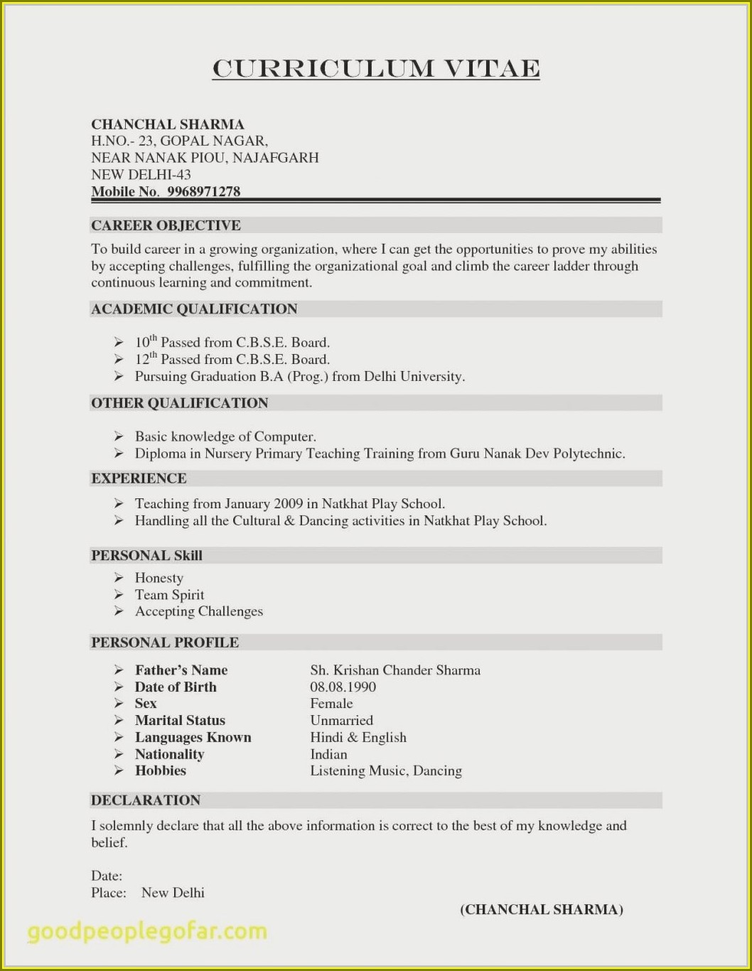 Diploma Electrical Engineer Resume Format