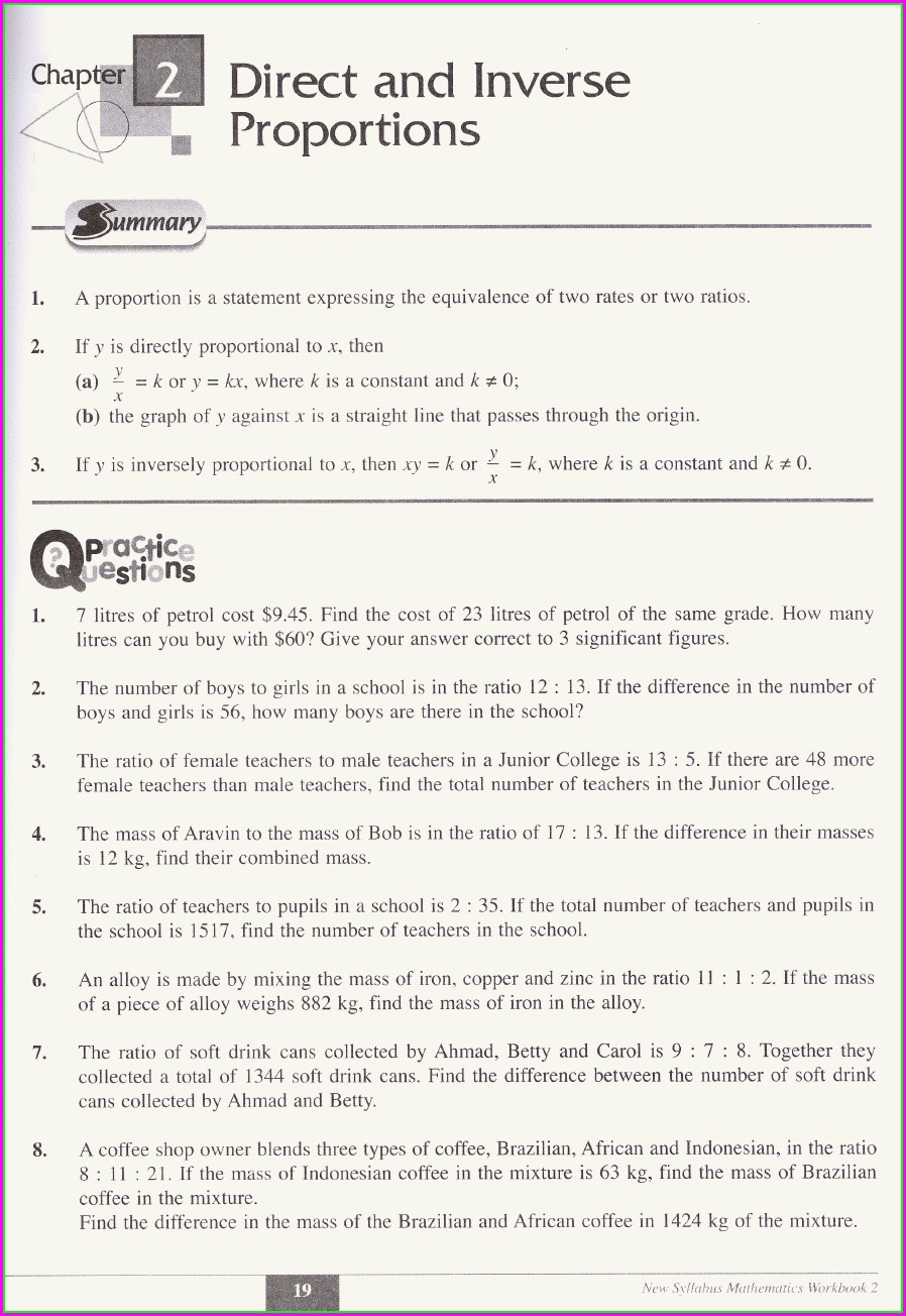 Direct And Inverse Proportion Word Problems Worksheet Pdf
