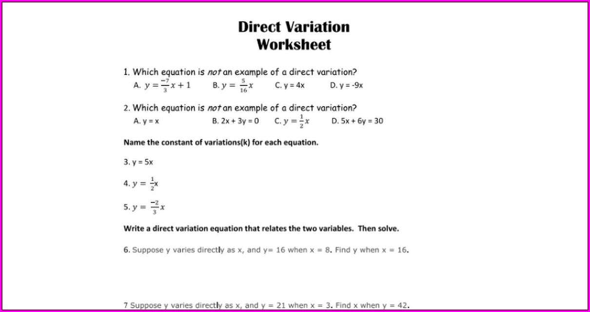 Direct Variation Word Problems Worksheet Answer Key