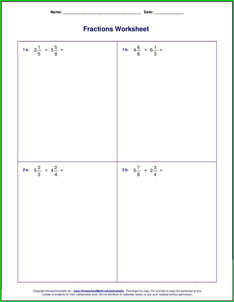 Dividing Fractions And Whole Numbers Worksheet Pdf