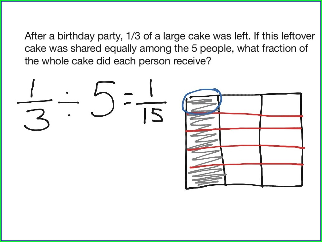 Dividing Fractions By Whole Numbers Using Models Worksheet