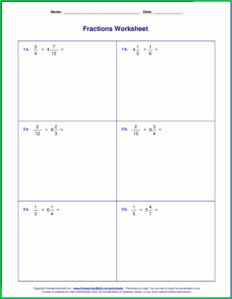 Dividing Fractions By Whole Numbers Year 6 Worksheet