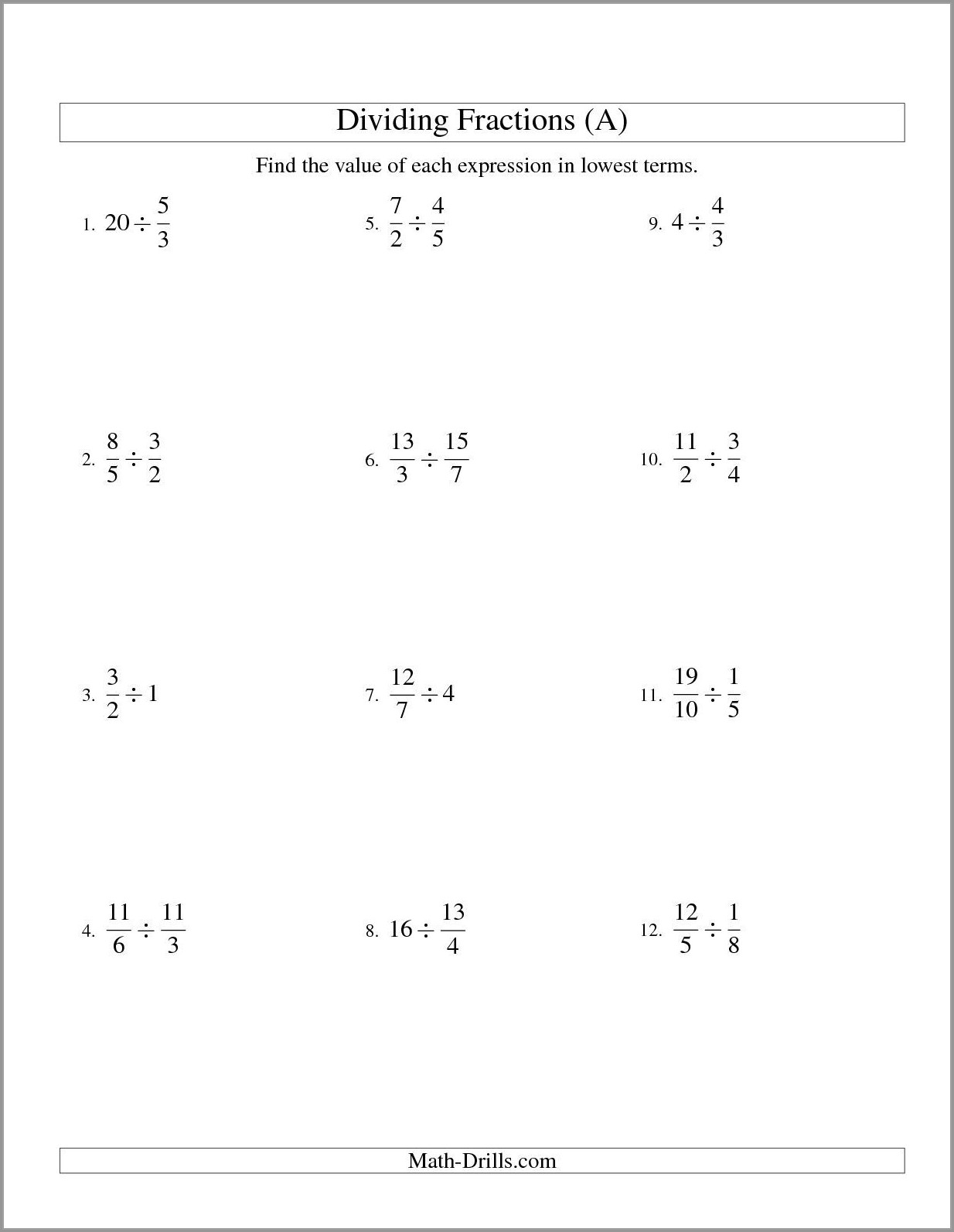 Dividing Fractions With Whole Numbers Worksheet