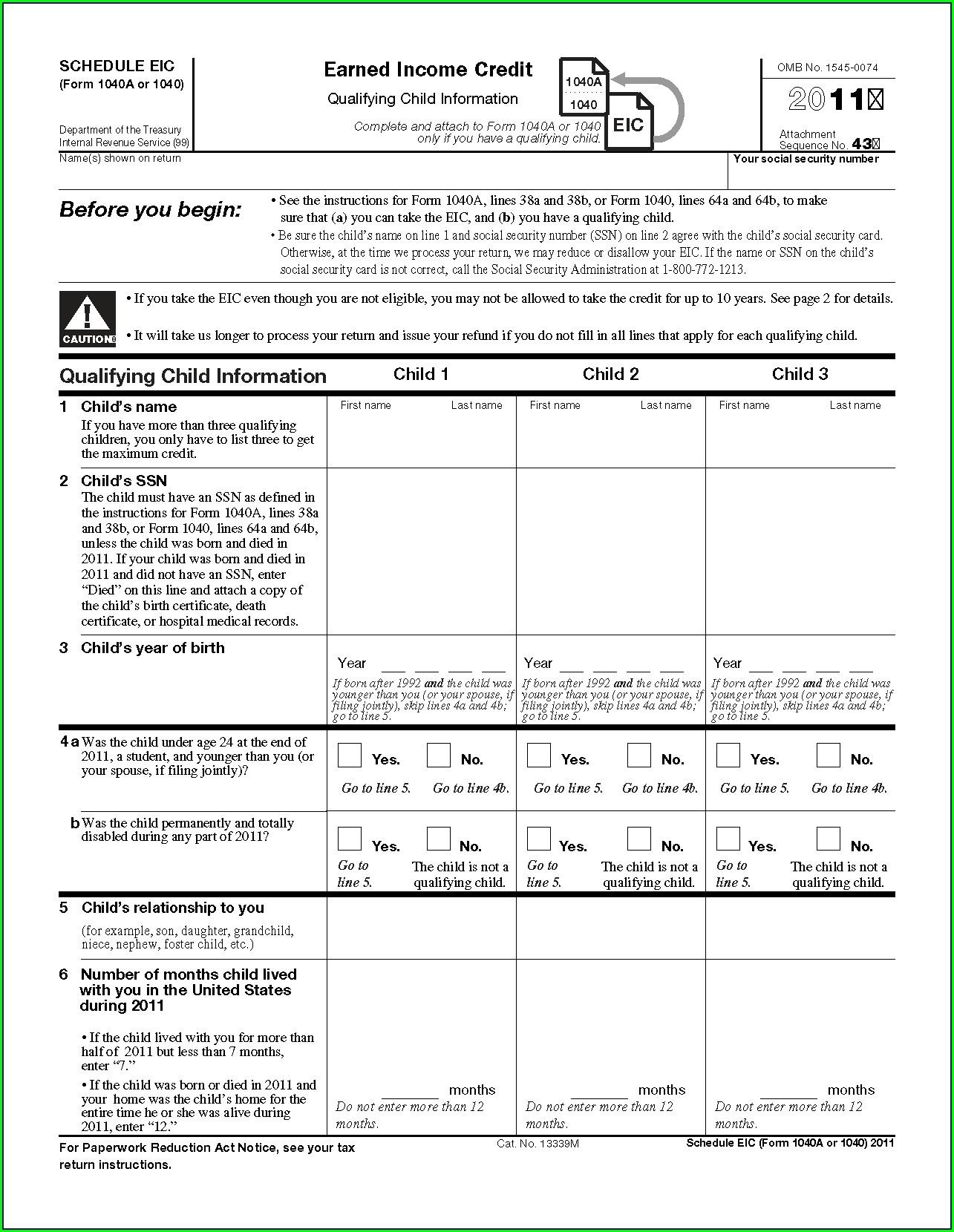 Earned Income Credit Worksheet 2011 Form