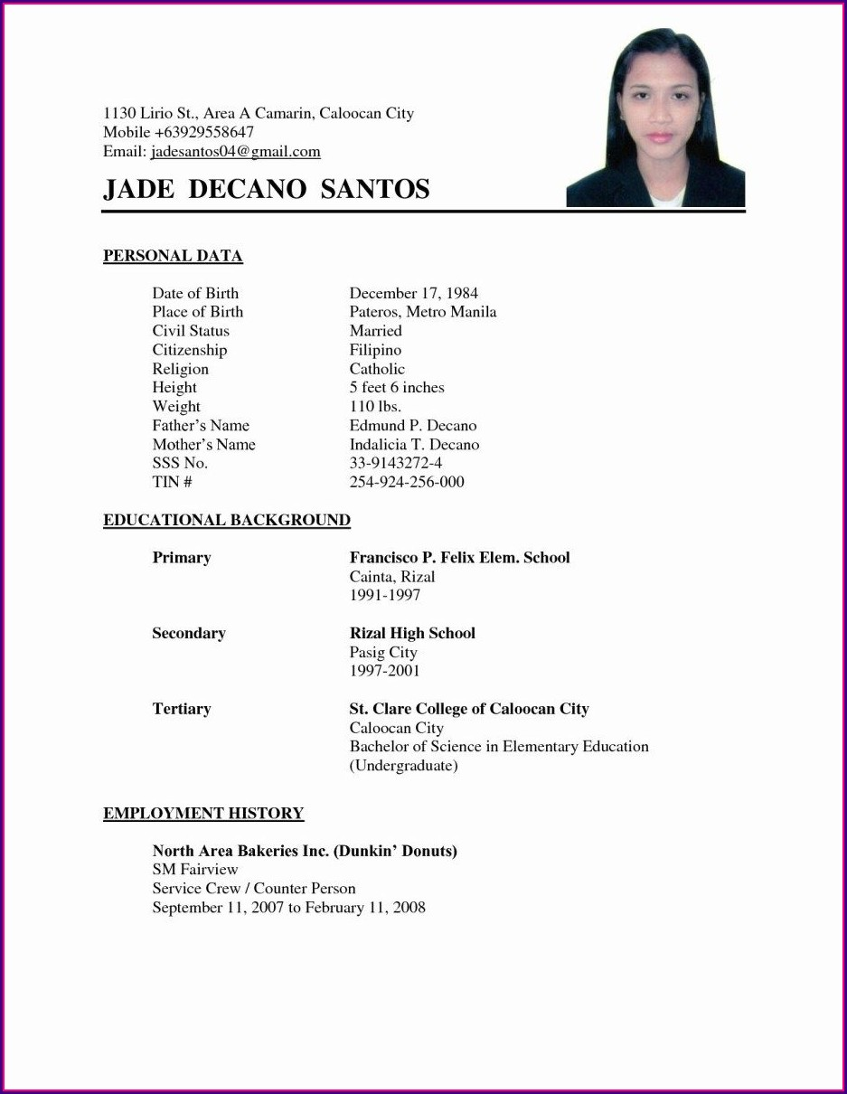 Easy Format Simple Resume Examples