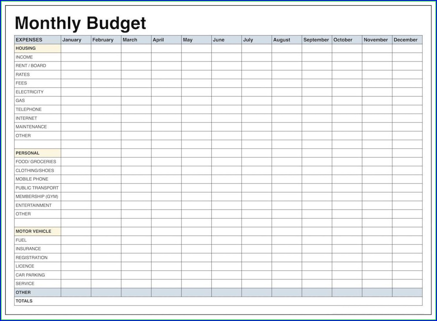 Edward Jones Monthly Budget Worksheet Excel