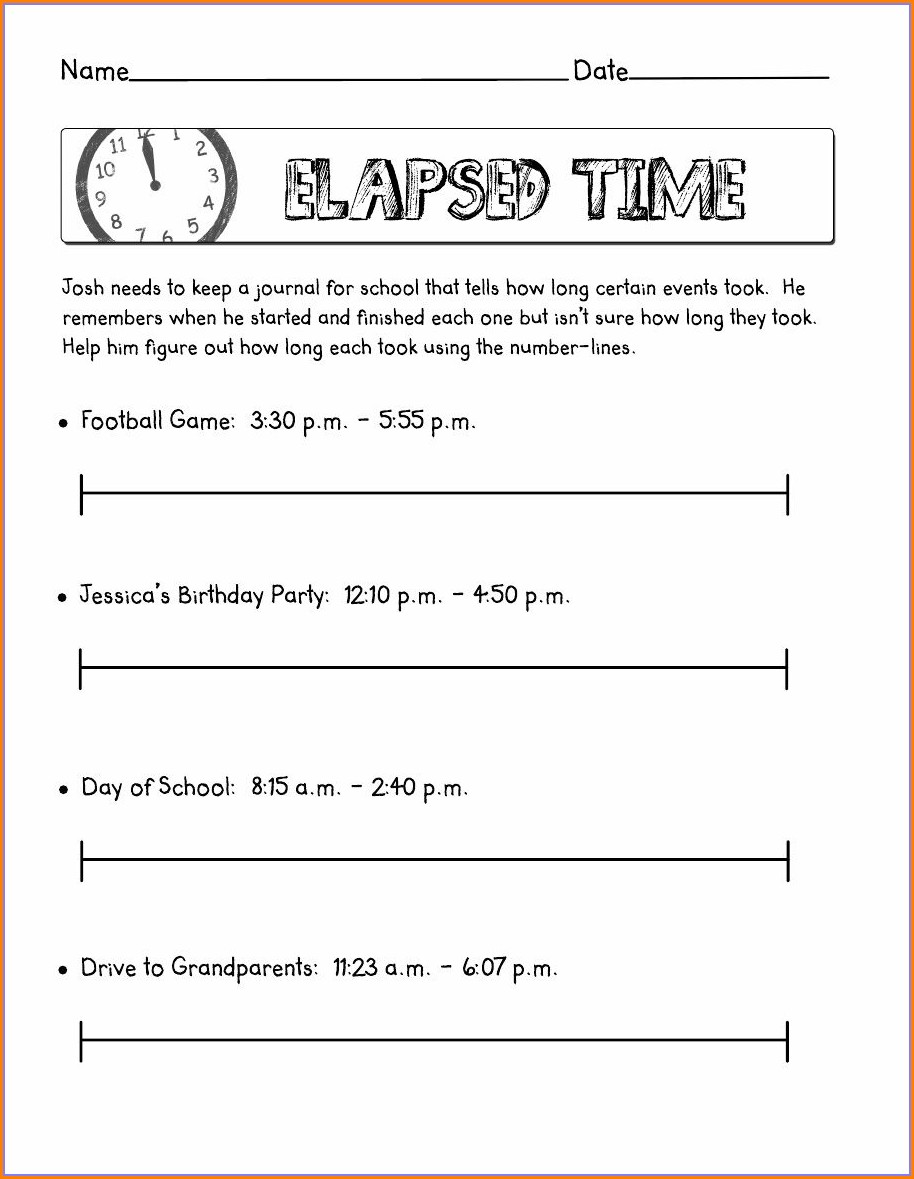 Elapsed Time Number Line Worksheet Answers