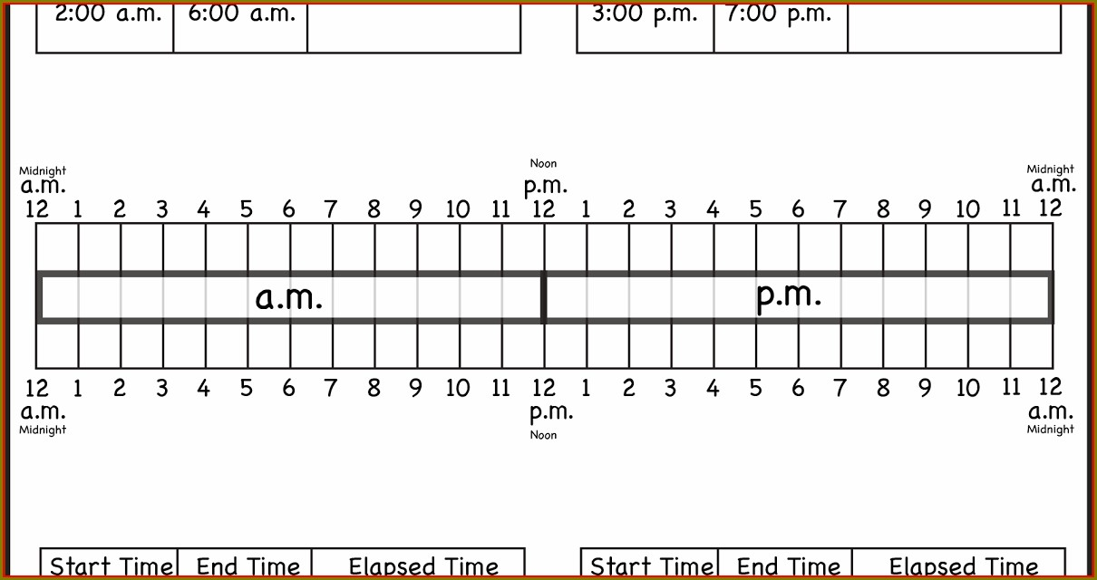Elapsed Time Worksheet With Number Line