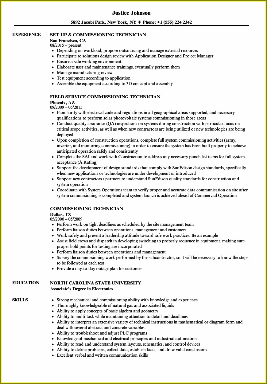 Electrical Commissioning Engineer Resume Format