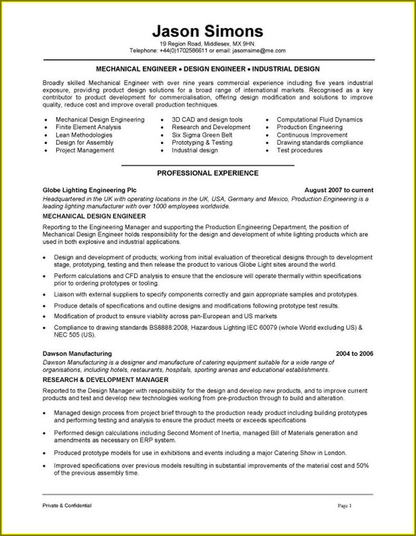 Electrical Design Engineer Resume Format