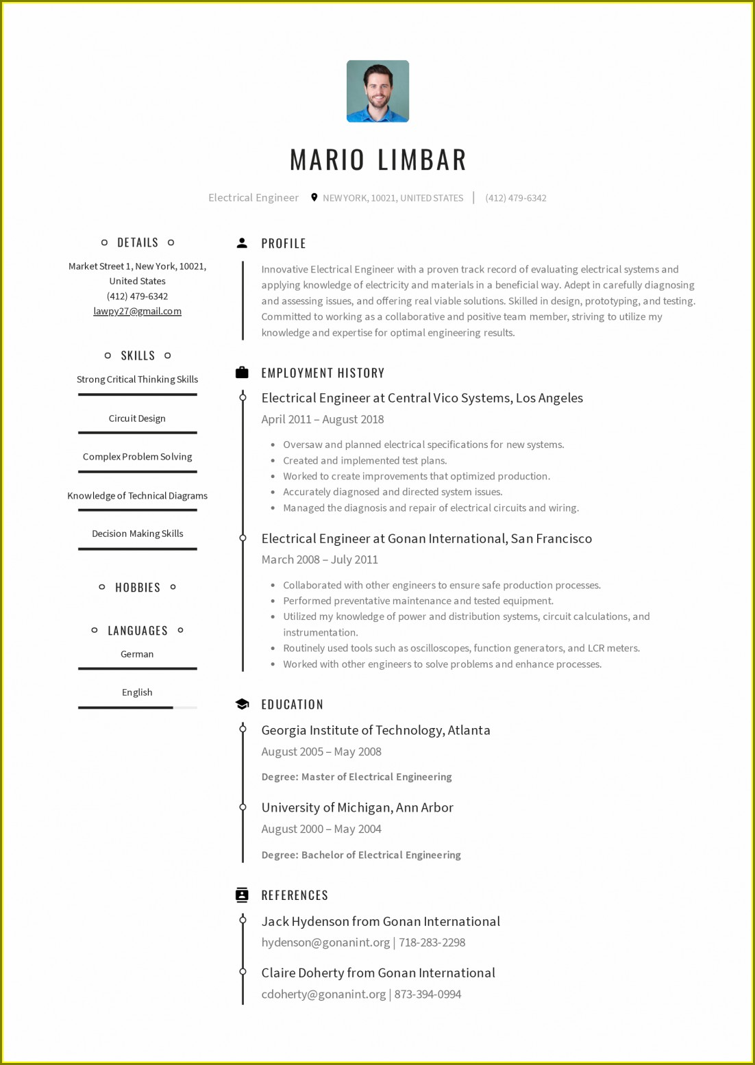 Electrical Engineer Resume Format Doc