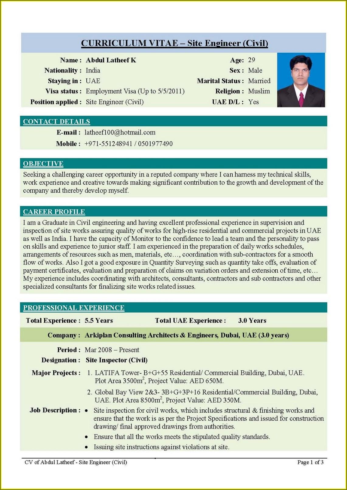 Electrical Engineer Resume Format In Word