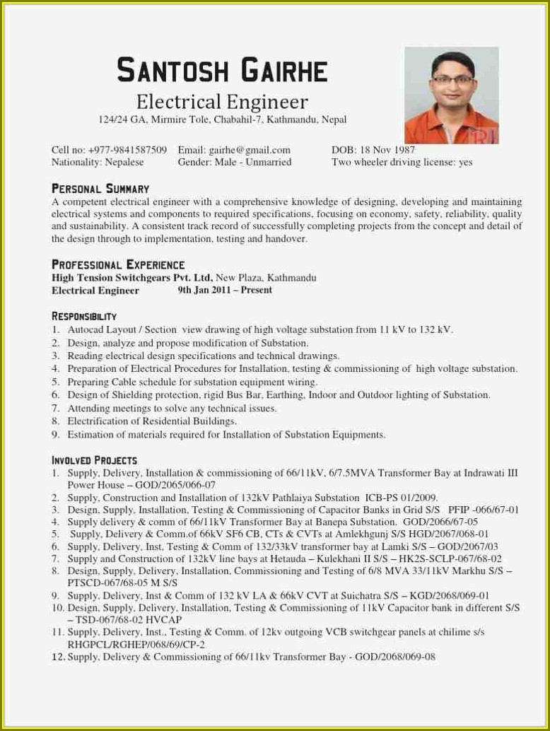 Electrical Engineer Resume Format