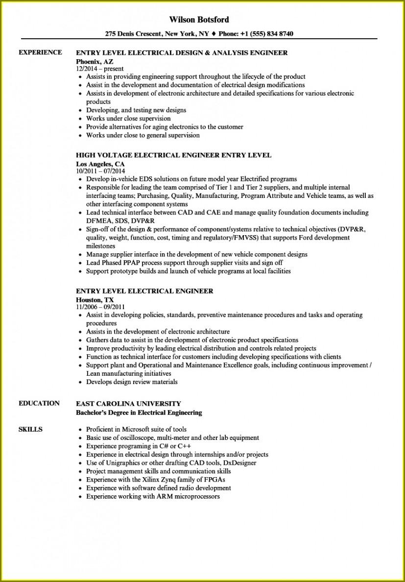 Electrical Engineer Resume Template Microsoft Word