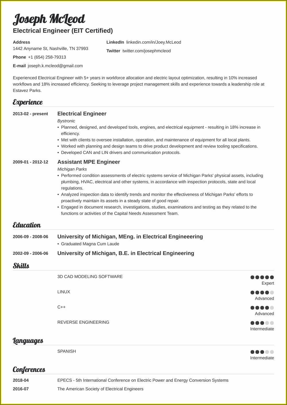 Electrical Engineer Resume Templates Word