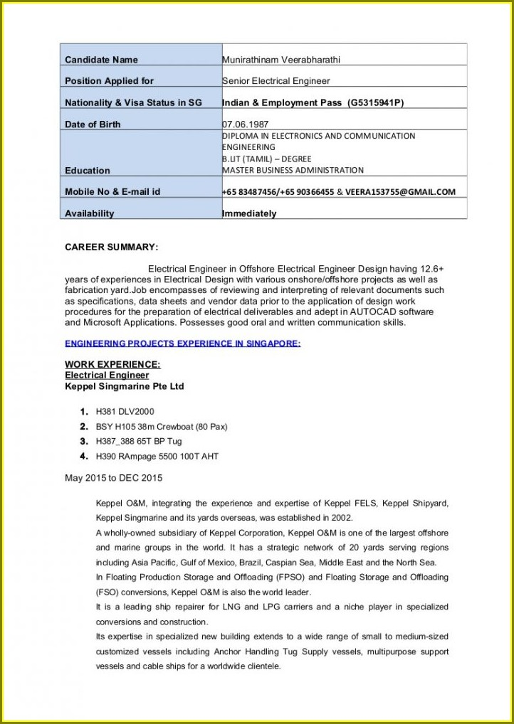 Electrical Engineering Resume Format Pdf Download