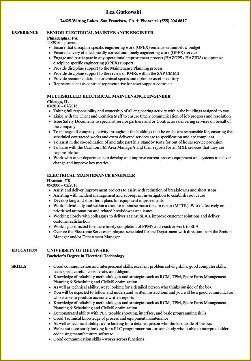 Electrical Maintenance Engineer Resume Word Format