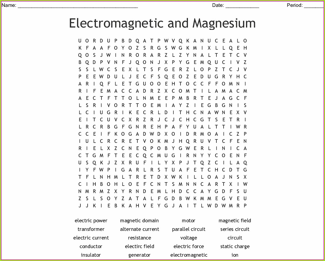 Electricity And Magnetism Word Search Answer Key Pdf