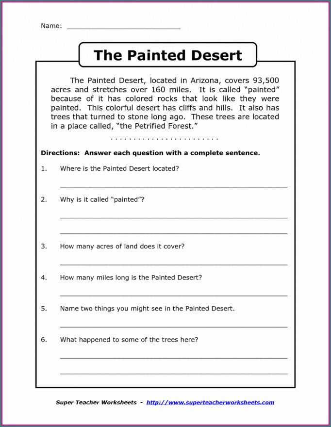 English Comprehension Worksheet Grade 3