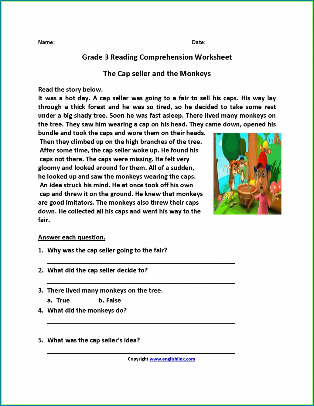 English Comprehension Worksheets For Grade 2 Pdf