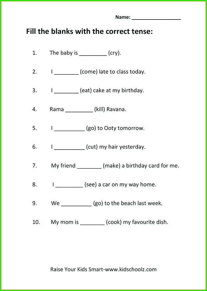 English Grammar Worksheets For Grade 5 With Answers Pdf