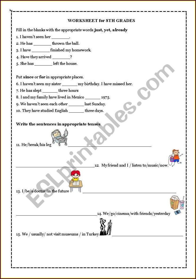 English Present Perfect Tense Worksheet