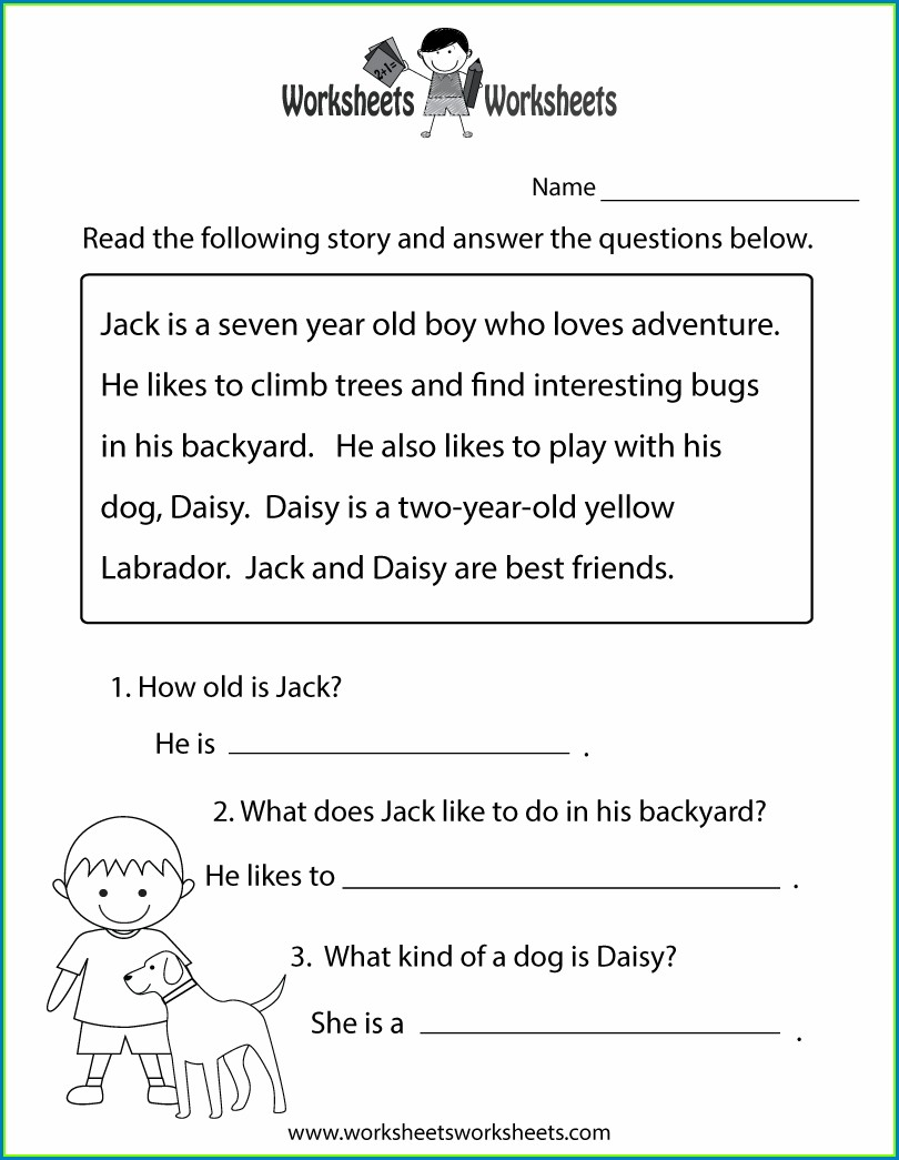 English Reading Comprehension Worksheets For Grade 2