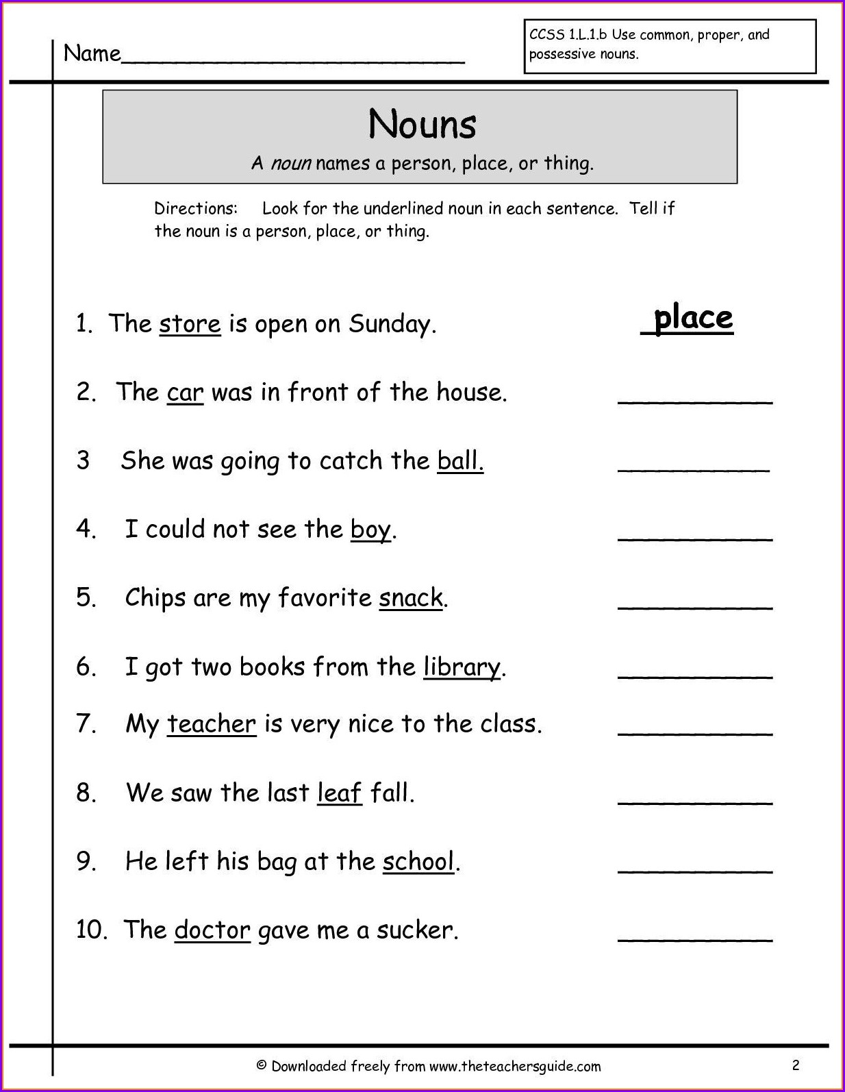 English Worksheet For Grade 1 Nouns