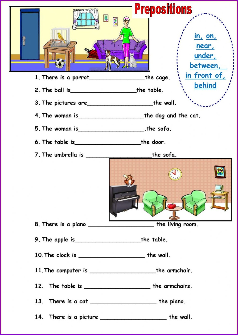 English Worksheet For Grade 1 Preposition
