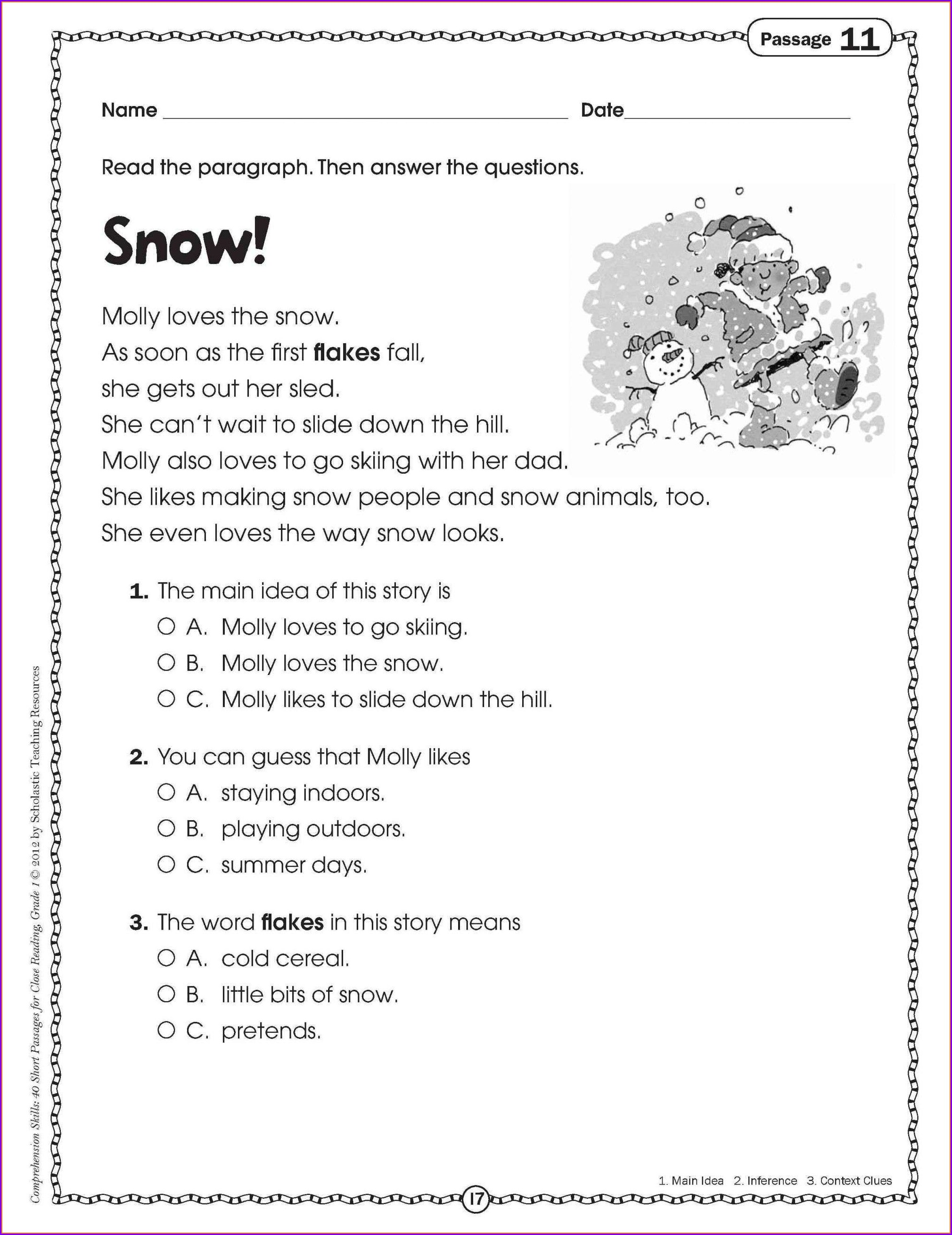 English Worksheet For Grade 1 Printable