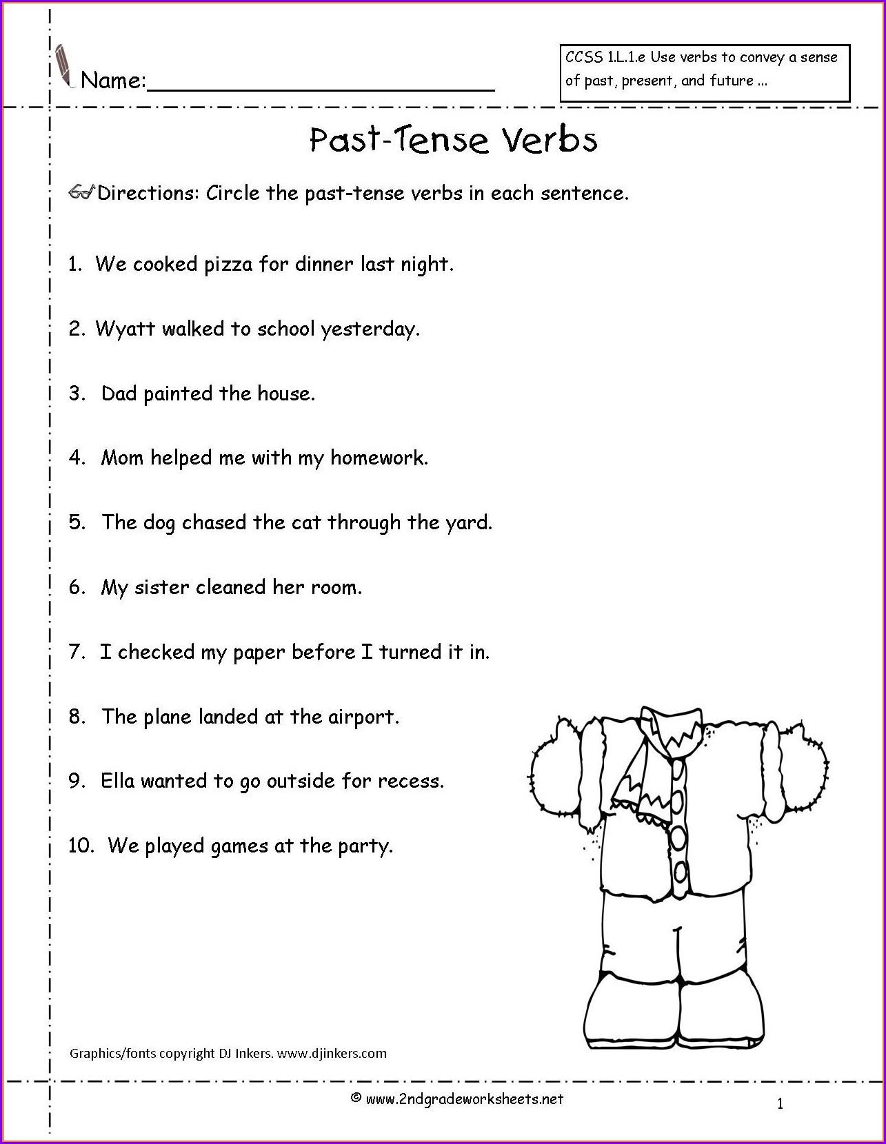 English Worksheet For Grade 2 Past Tense