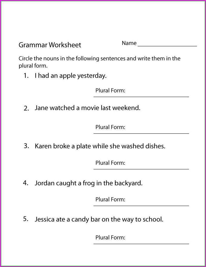 English Worksheet For Grade 4 Pdf