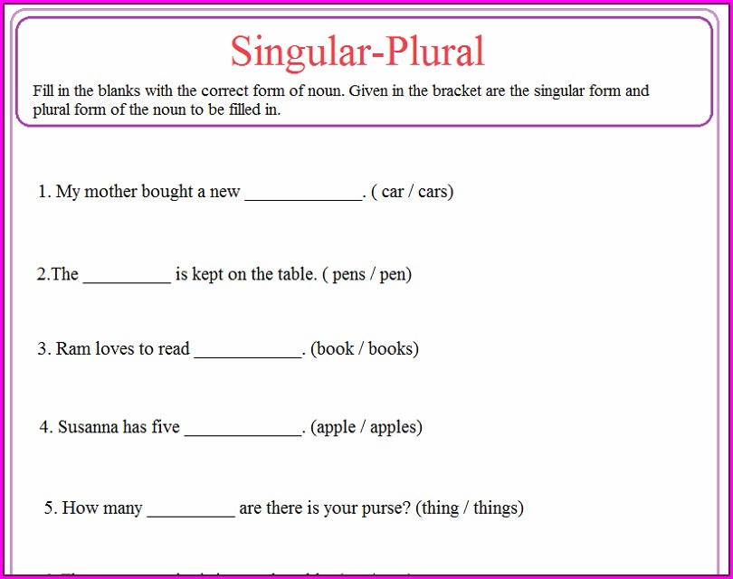 English Worksheet For Grade 5 Pdf