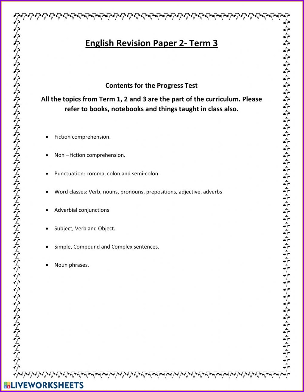 English Worksheet For Grade 5 Students