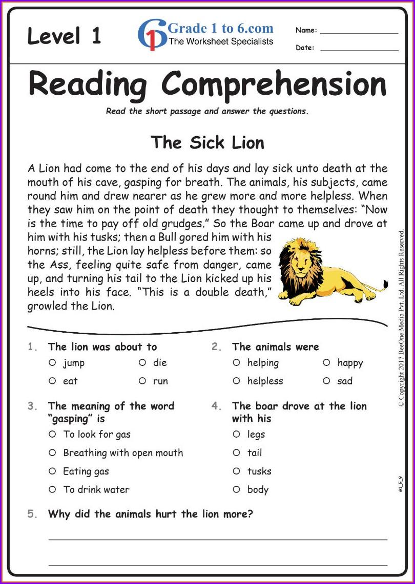 English Worksheet For Grade 6