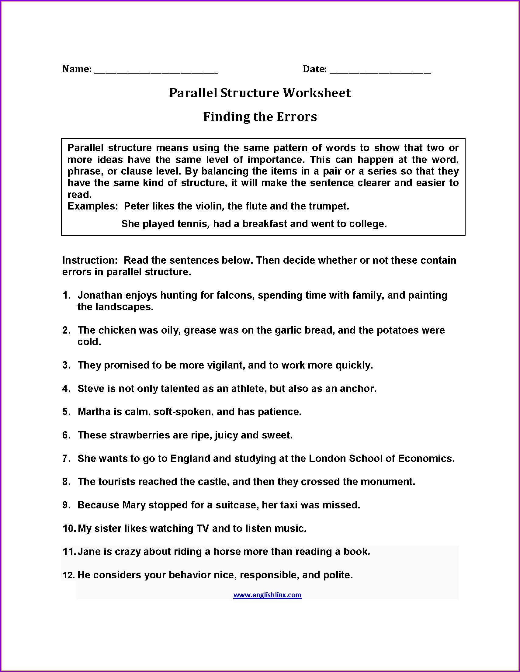 English Worksheet For Grade 9