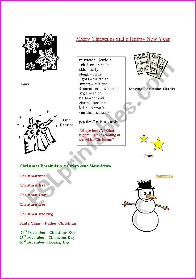 English Worksheets About Christmas