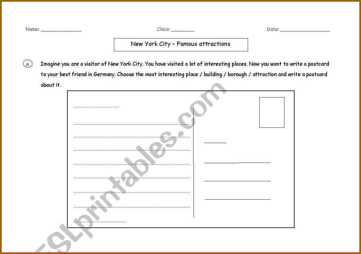 English Worksheets New York City