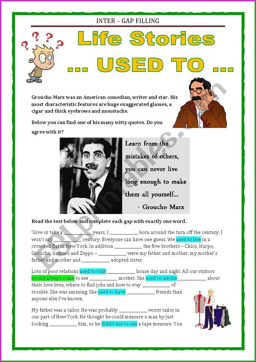 English Worksheets Used To Past Habits