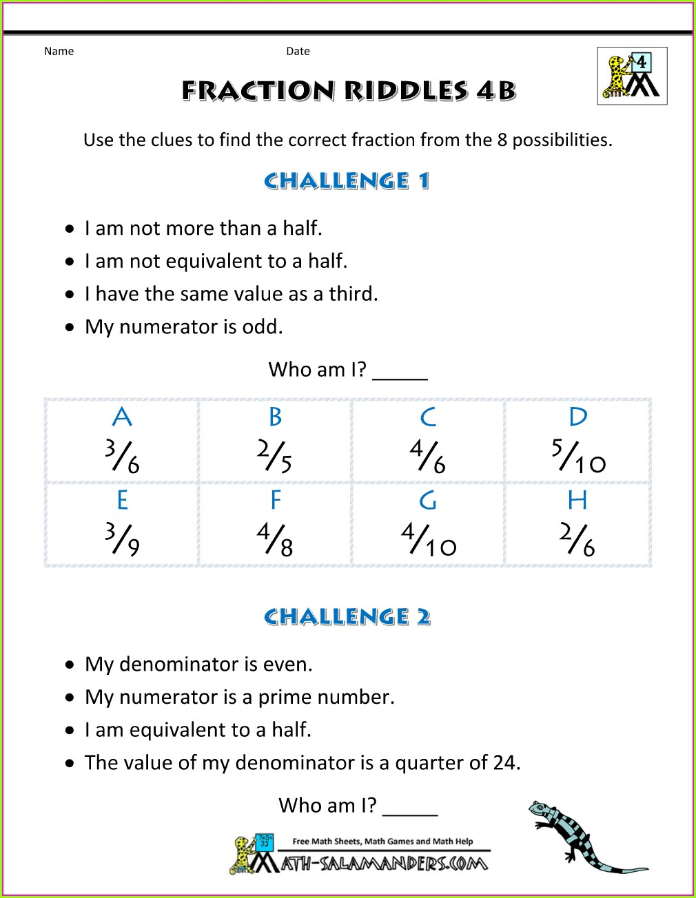 Equivalent Fractions Hard Worksheet