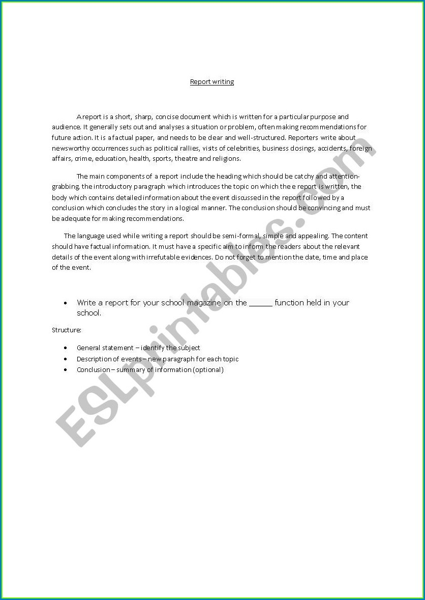Esl Report Writing Worksheet