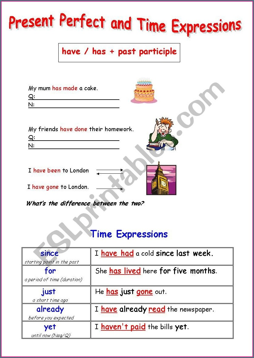 Esl Time Expressions Worksheet