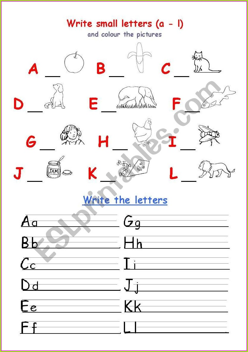 Esl Writing Alphabet Worksheet